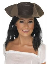 Pirate Leather Look Hat With Attached Hair